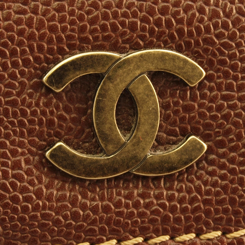 Chanel Brown Caviar Tote Leather Handbag (Authentic Pre Owned)