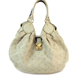 Louis Vuitton Mahina XL Ivory Leather Handbag (Authentic Pre Owned)