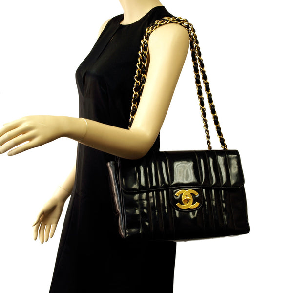 Chanel Black Jumbo patent leather flap Handbag (Authentic Pre Owned)