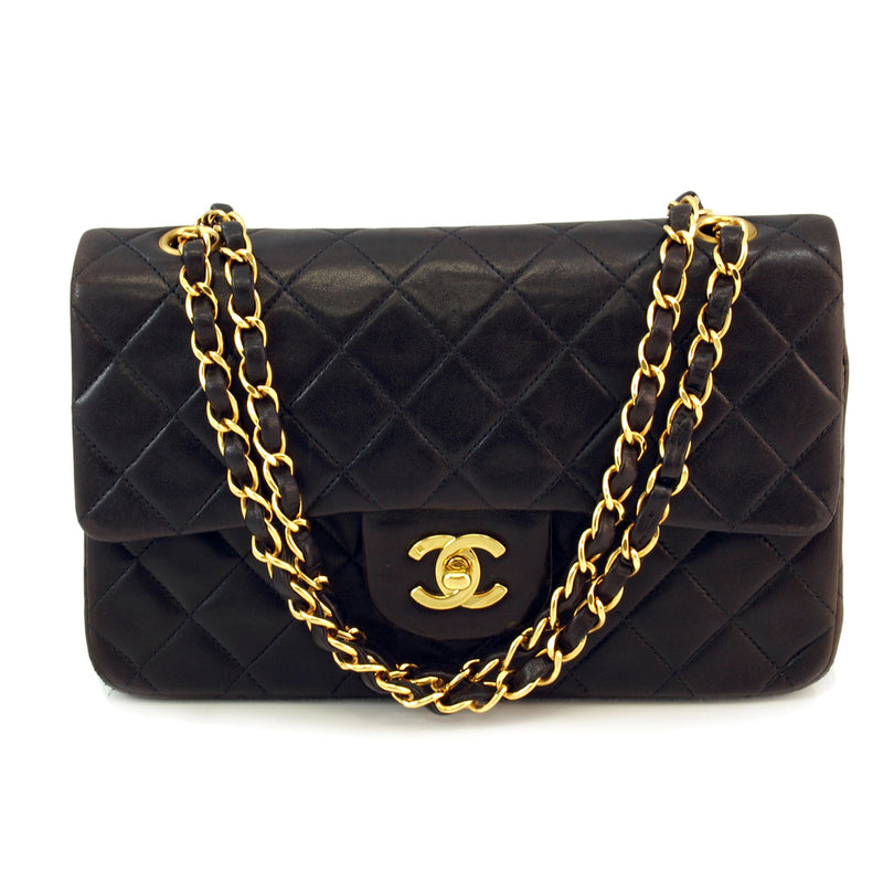 Chanel Black Double Chain Lambskin Flap Leather Handbag (Authentic Pre Owned)