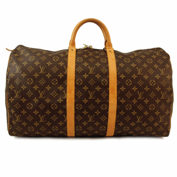 Louis Vuitton Keepall 55 Monogram Leather Handbag (Authentic Pre Owned)