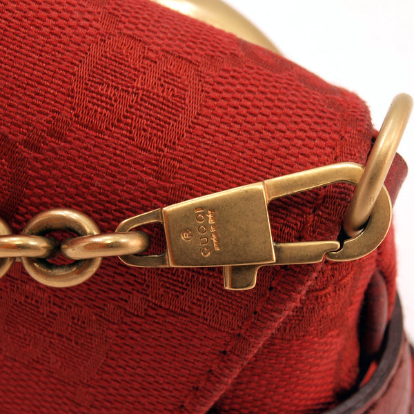 Gucci Red Horsebit Leather Handbag (Authentic Pre Owned)