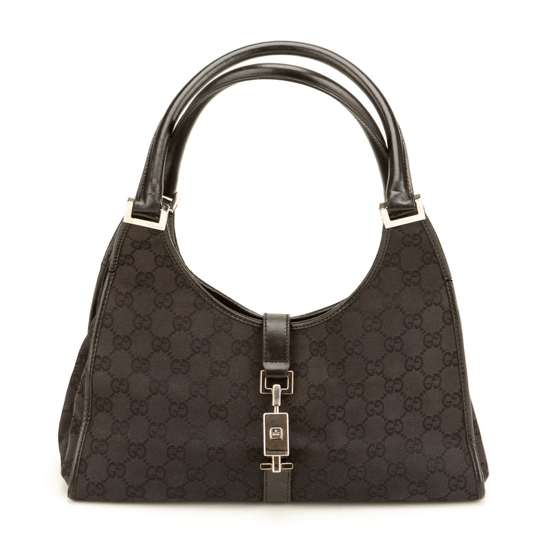 Gucci Black Monogram Jackie O Handbag (Authentic Pre Owned)