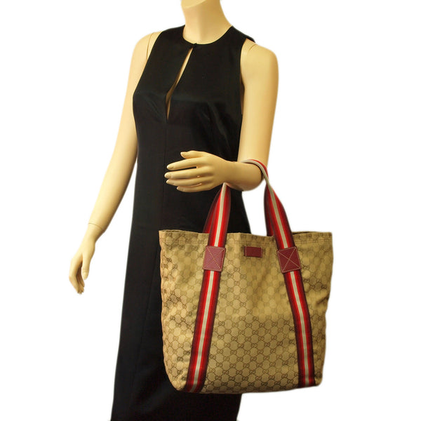 Gucci Beige Shopping Tote with Red Trim Handbag (Authentic Pre Owned)