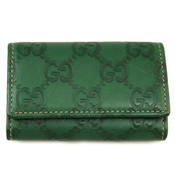Gucci Guccissima Green Small Wallet Handbag (Authentic Pre Owned)