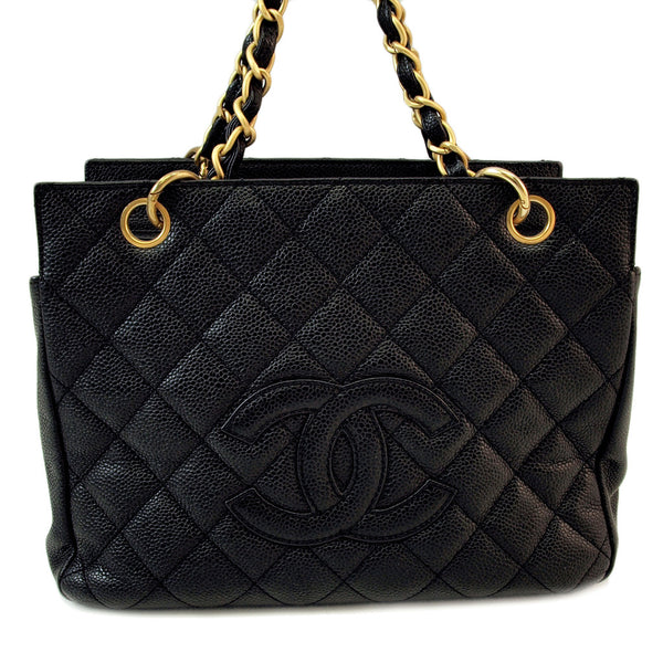 Chanel Caviar Black PST Petite Tote Leather Handbag (Authentic Pre Owned)