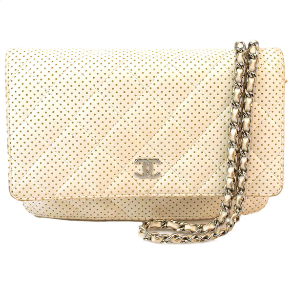 Chanel White Flap WOC Wallet On Chain Leather Handbag (Authentic Pre Owned)