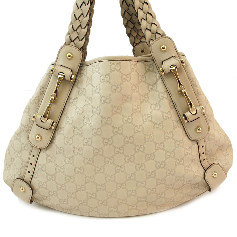 Gucci Guccissima Ivory Leather Pelham Hobo (Authentic Pre Owned)
