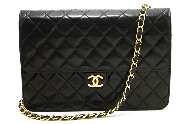 Chanel Black Quilted Lambskin Chain Clutch (SHB-10116)