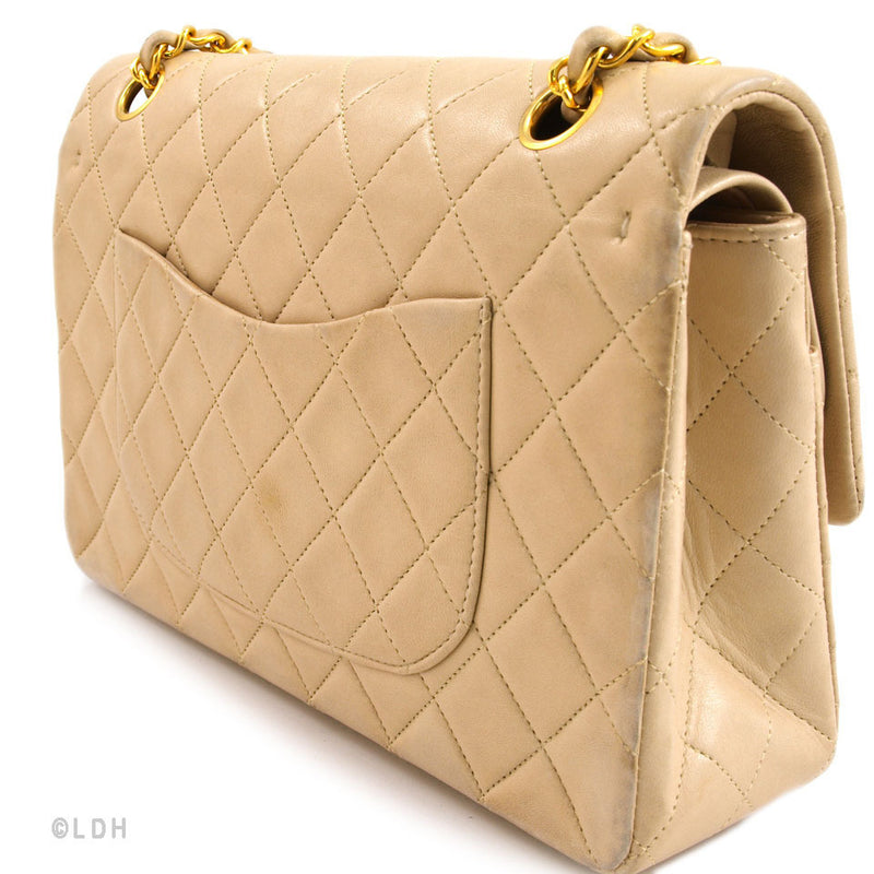 Chanel Classic Beige 2.55 Lambskin Double Flap (Authentic Pre Owned)