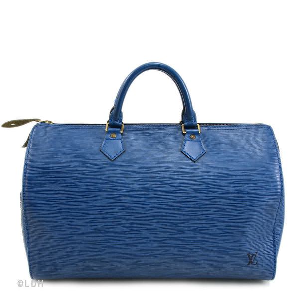 Louis Vuitton Blue Epi Speedy 35 (Authentic Pre Owned)