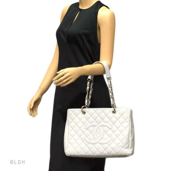 Chanel White Caviar GST Grand Shopping Tote (Authentic Pre Owned)