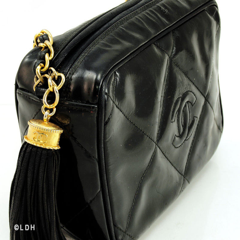 Chanel Patent Shoulder Bag with Tassel (Authentic Pre Owned)