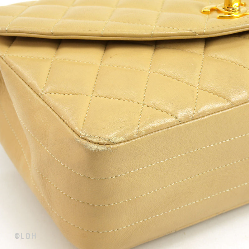 Chanel Beige Lambskin Flap (Authentic Pre Owned)