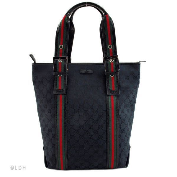 Gucci Black Monogram Large Tote (Authentic Pre Owned)