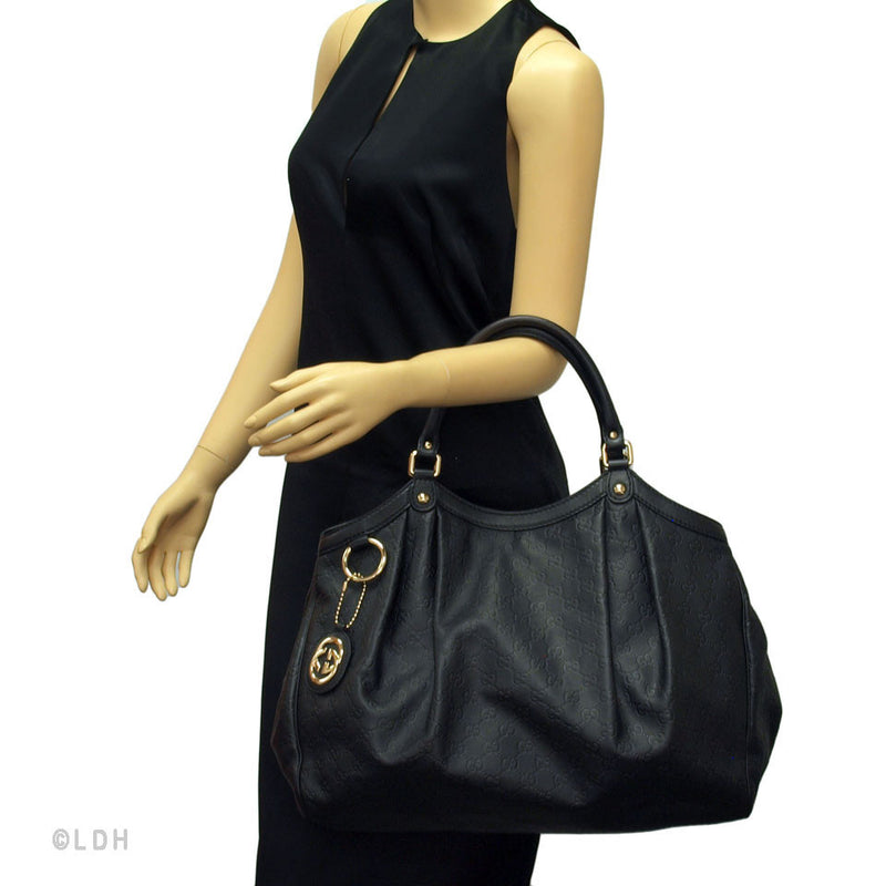 Gucci Black Guccissima Large Sukey (Authentic Pre-Owned)