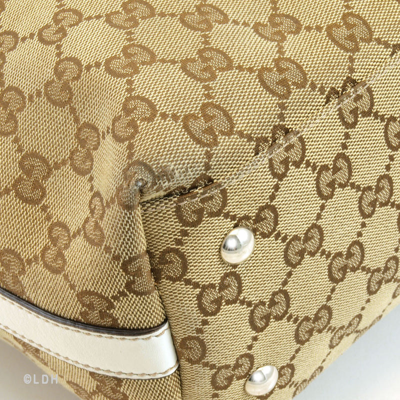 Gucci Monogram White Tote (Authentic Pre Owned)