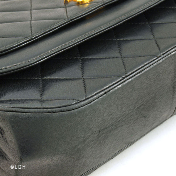 Chanel Black Classic Lambskin Single Flap (Authentic Pre Owned)