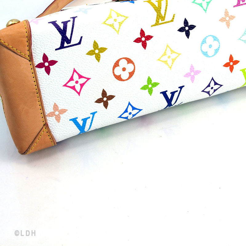 Louis Vuitton White Monogram Multicolore Elize Bag (Authentic Pre Owned)