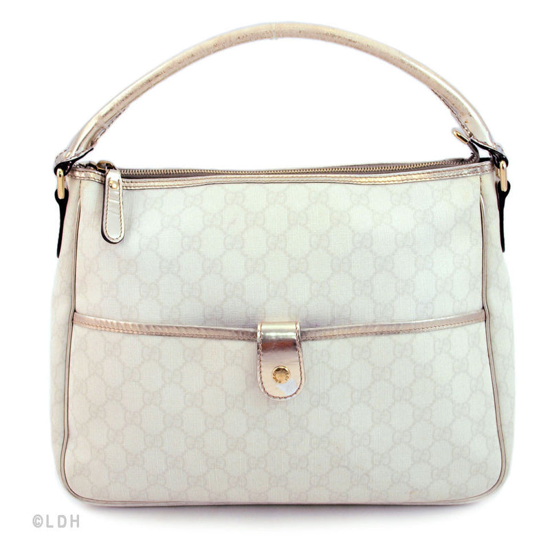 Gucci White Hobo with Metallic Trim (Authentic Pre Owned)