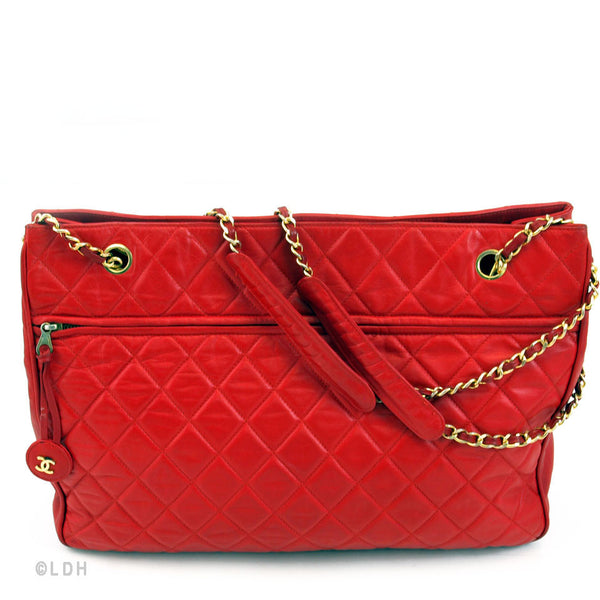 Chanel Red Lambskin Quilted XL Tote (Authentic Pre Owned)