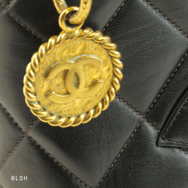 Chanel Black Lambskin Medallion Tote with Gold Hardware (Authentic Pre Owned)