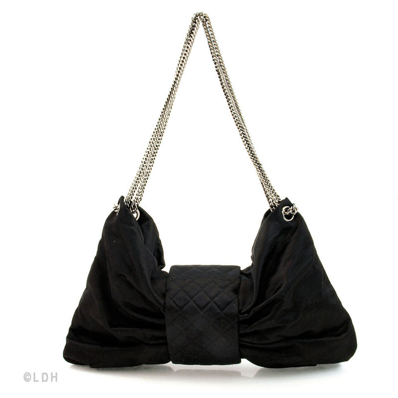 Chanel Black Satin Bow with Silver Hardware (Authentic Pre Owned)