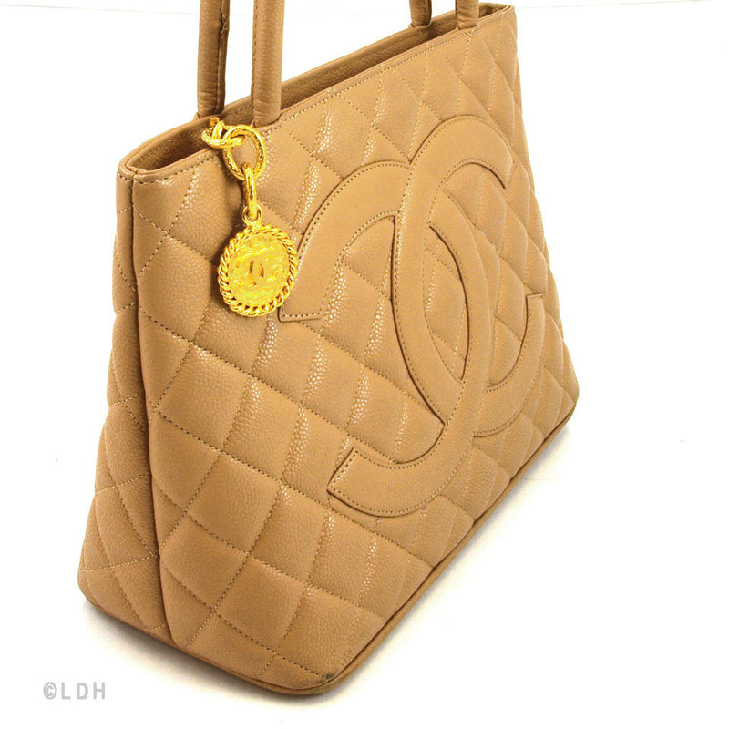Chanel Beige Caviar Medallion with Gold Hardware (Authentic Pre Owned)