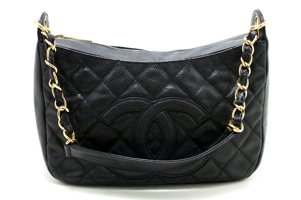 Chanel Black Quilted Caviar Chain One Shoulder (SHB-10118)