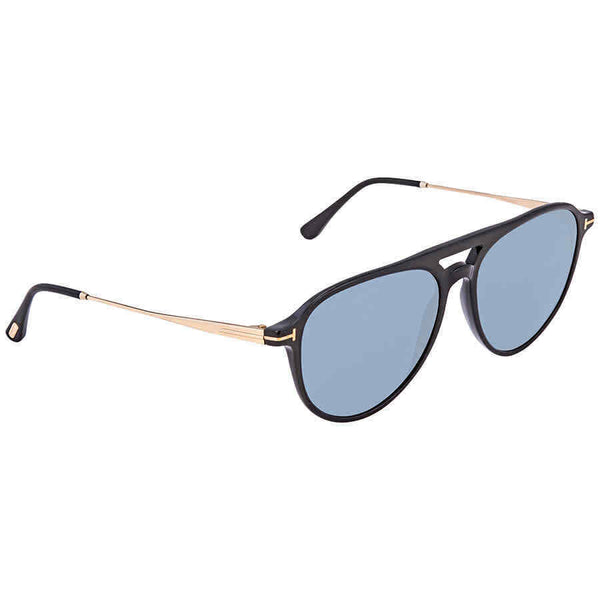 Tom Ford Carlo Shiny Black Blue Pilot Sunglasses FT0587 01V FT0587 01V