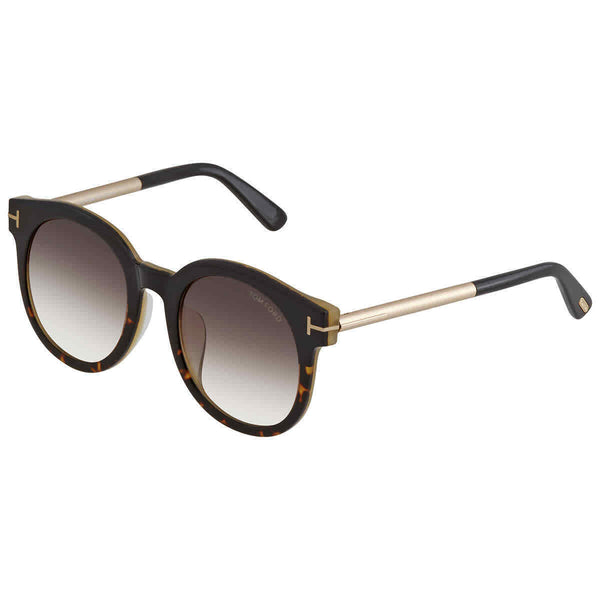 Tom Ford Brown Gradient Round Ladies Sunglasses FT0435-F 01K 53 FT0435-F 01K 53