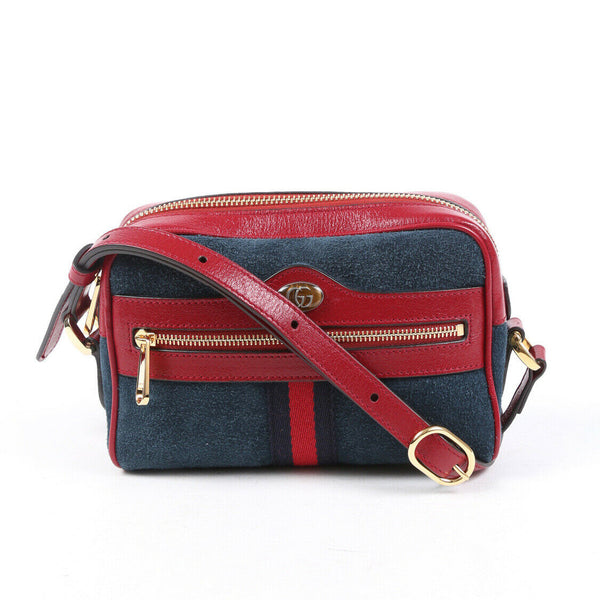 Gucci Bag Ophidia Mini Blue Red Suede GG Crossbody