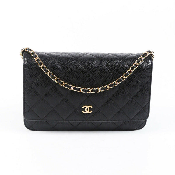 Chanel Bag Wallet On Chain Black Quilted Caviar CC Crossbody