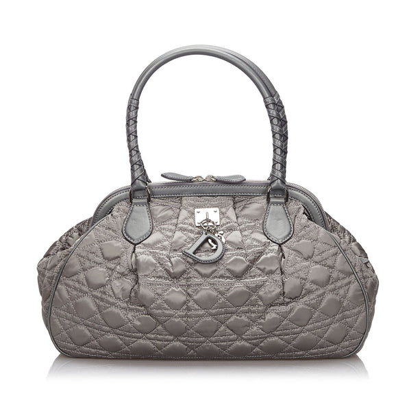 Pre-Loved Dior Gray Dark Nylon Fabric Cannage Lovely Handbag Italy