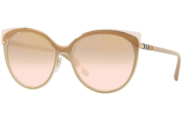 Burberry Brown / Mirrored Gold Gradient Oversized Ladies Sunglasses BE3096
