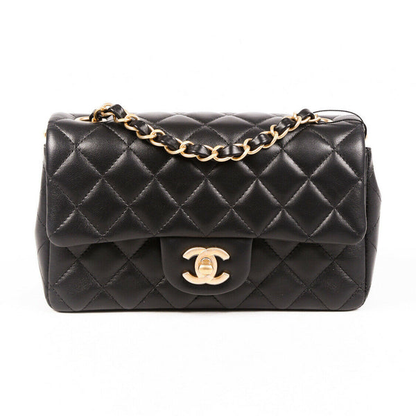 Chanel Bag Rectangular Mini Quilted Black Lambskin Flap