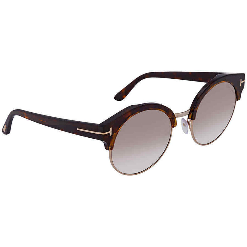 Tom Ford Gradient Brown Flash Gold Clubmaster Ladies Sunglasses FT0608-52G