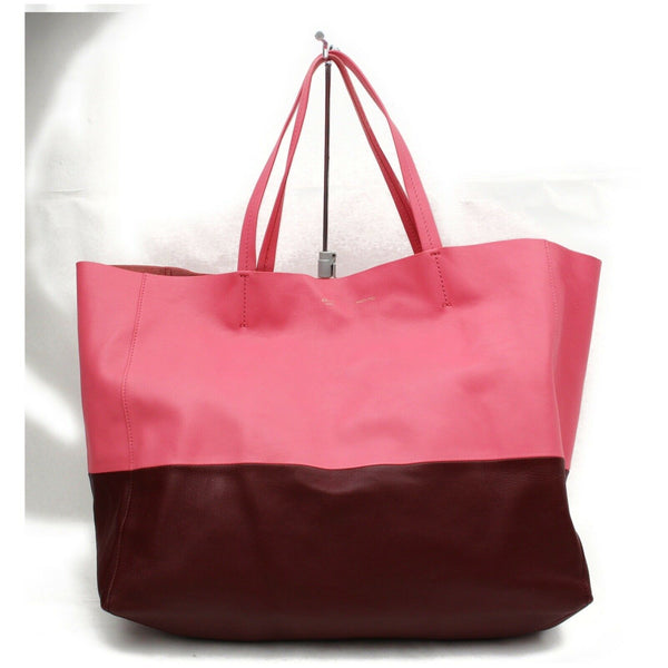 Authentic Celine Tote Bag Cabas Horizontal Hot Pink Leather (SHC7-10862)