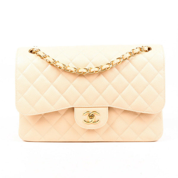 Chanel Bag Jumbo Classic Double Flap Beige Quilted Caviar Leather