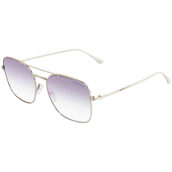 Tom Ford Blue Gradient Rectangular Ladies Sunglasses FT068016Z57 FT068016Z57