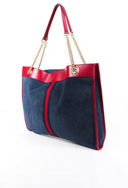 Gucci Bag Rajah Large Blue Suede Leather Tote