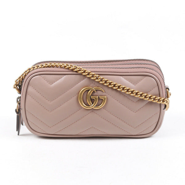 Gucci Bag Marmont Mini Matelasse GG Beige Leather
