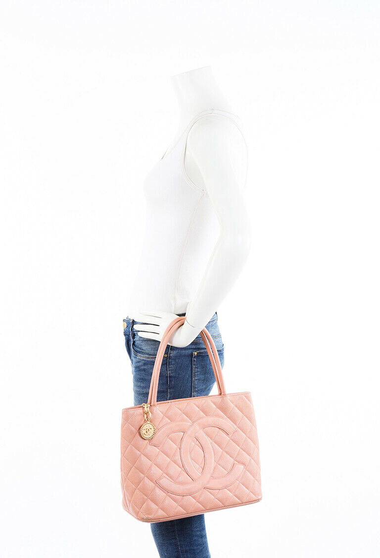 Chanel Bag Medallion Pink Quilted Caviar CC Tote