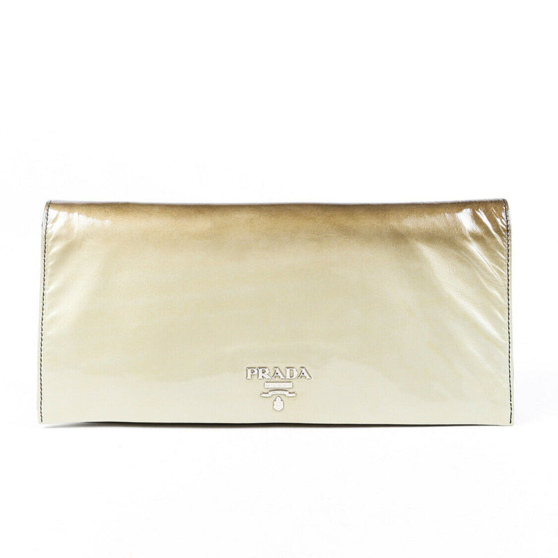 Prada Bag Ombré Sfumato Green Brown Patent Leather Clutch