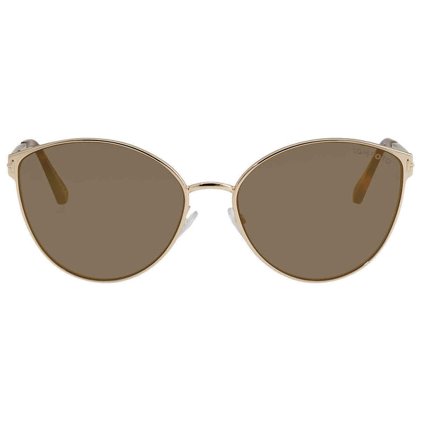 Tom Ford Mirrored Brown Cat Eye Ladies Sunglasses FT0654 28G 60 FT0654 28G 60