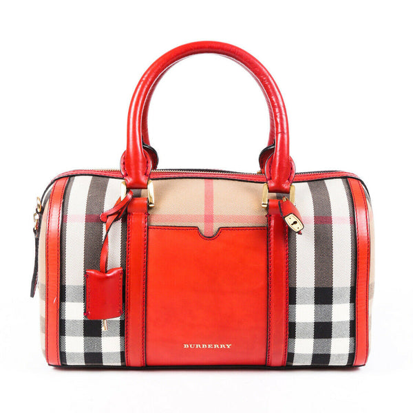 Burberry Bag Nova Check Red Leather Canvas Satchel