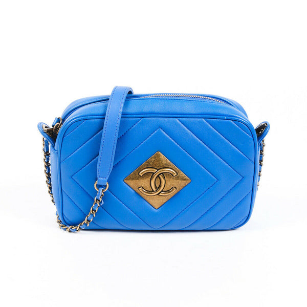Chanel Bag Pyramid Camera Blue Quilted Lambskin CC Crossbody