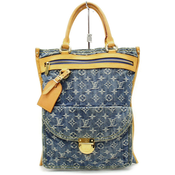 Louis Vuitton Tote Bag Flat Shopper Blue Monogram Denim  (SHC7-10209)