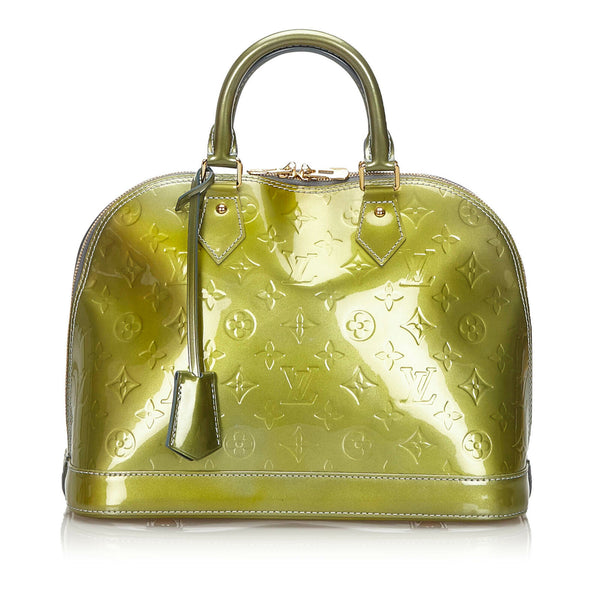 Pre-Loved Louis Vuitton Green Vernis Leather Alma PM France