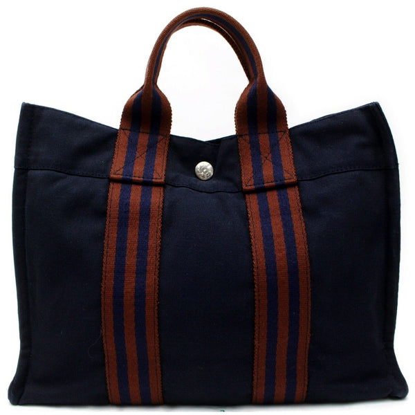 Authentic Hermes Tote Bag Sac Fool Toepm Navy Blue Canvas (SHC7-10987)